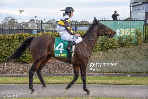Jamie Mott returns to the mounting yard on Fica Gal after winning the Nevan Hunniford BM64 Handicap at Geelong Synthetic Racecourse on August 10 2018...