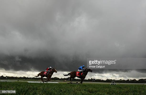 Jamie Mott riding Arch Fire races away to win from John Allen riding Gingerboy in Race 1 The Australian Hurdle during Melbourne Racing at Sandown...