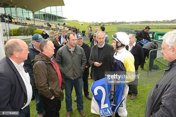 Jamie Mott talks to connections after winning tab.com.au SV Three-Years-Old BM64 Handicap at Warrnambool Racecourse on September 25, 2016 in...