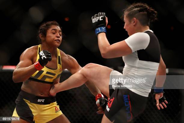 Jamie Moyle kicks Viviane Pereira of Brazil in their womens strawweight bout during the UFC 212 event at Jeunesse Arena on June 3 2017 in Rio de...