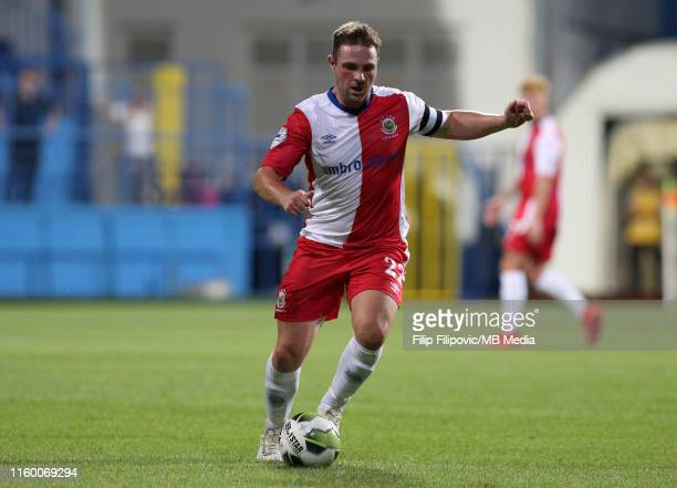 Jamie Mulgrew of Linfield controls the ball during the UEFA Europe League third round qualifier match between Sutjeska Niksic and Linfield FC on...