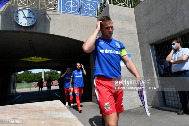 Jamie Mulgrew of Linfield FC enters the pitch during the UEFA Champions League 2020/21 Preliminary Round Semi-final match between S.S. Tre Fiori F.C....