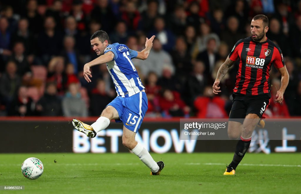 Jamie Murphy of Brighton and Hove Albion shoots during the Carabao Cup Third Round match between AFC Bournemouth and Brighton and Hove Albion at Vitality Stadium on September 19, 2017 in Bournemouth, England.