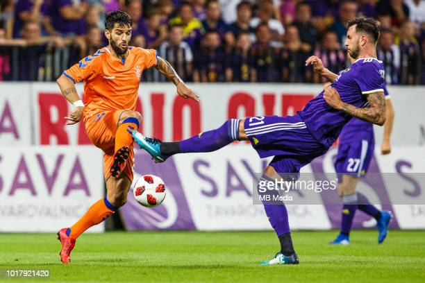 Jamie Murphy of FC Rangers and Amir Dervisevic of NK Maribor in action during 2nd Leg football match between NK Maribor and Rangers FC in 3rd...