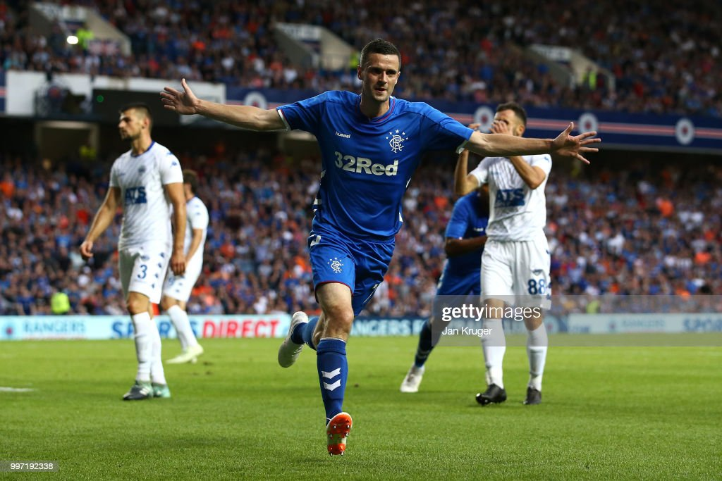 Jamie Murphy of Rangers celebrates scoring his sides first goal during the UEFA Europa League Qualifying Round match between Rangers and Shkupi at Ibrox Stadium on July 12, 2018 in Glasgow, Scotland.