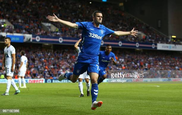 Jamie Murphy of Rangers celebrates scoring his sides first goal during the UEFA Europa League Qualifying Round match between Rangers and Shkupi at...