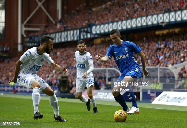 Jamie Murphy of Rangers controls the ball from Ermedin Adem of FC Shkupi during the UEFA Europa League Qualifying Round match between Rangers and...