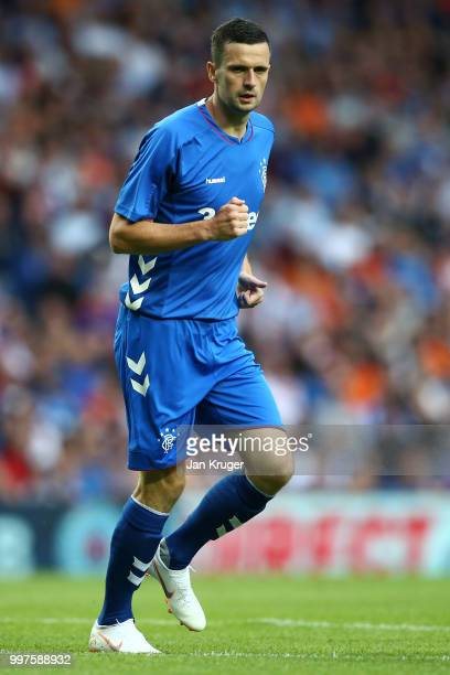 Jamie Murphy of Rangers in action during the UEFA Europa League Qualifying Round match between Rangers and Shkupi at Ibrox Stadium on July 12 2018 in...