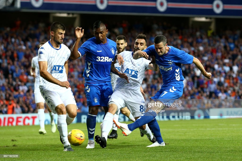 Jamie Murphy of Rangers scores his sides first goal during the UEFA Europa League Qualifying Round match between Rangers and Shkupi at Ibrox Stadium on July 12, 2018 in Glasgow, Scotland.
