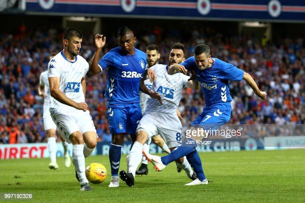 Jamie Murphy of Rangers scores his sides first goal during the UEFA Europa League Qualifying Round match between Rangers and Shkupi at Ibrox Stadium...