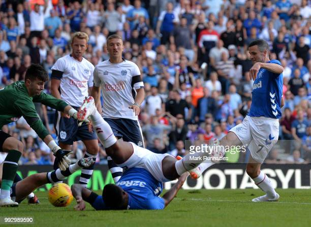 Jamie Murphy of Rangers scores the opening goal of the game during the PreSeason Friendly between Rangers and Bury at Ibrox Stadium on July 6 2018 in...