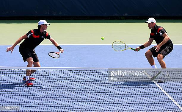 Jamie Murrary of Great Britain and John Peers of Australia in action during their men's doubles second round match against Feliciano Lopez of Spain...