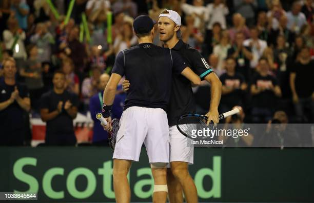 Jamie Murray and Dominic Inglot of Great Britaincelebrate victory during the doubles match between Great Britain and Uzbekistan on Day Two of the...