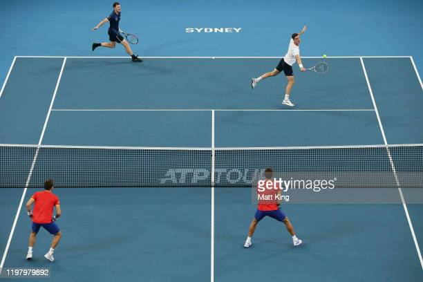 Jamie Murray and Joe Salisbury of Great Britain play in their Group C doubles match against Radu Albot and Alexander Cozbinov of Moldova during day...