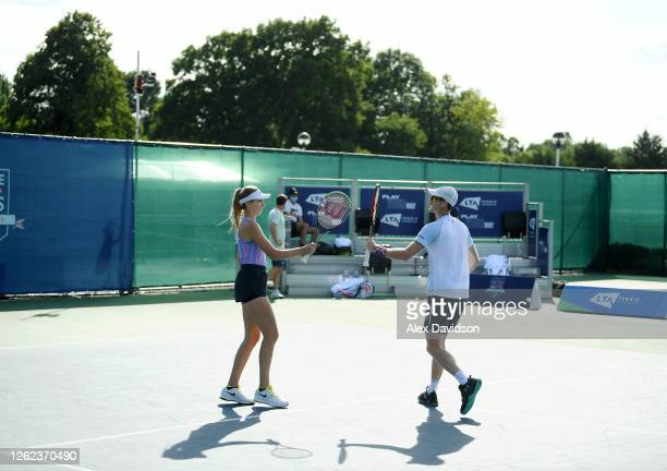 Jamie Murray and Katie Boulter of Union Jacks interact during their match against Cam Norrie and Beth Grey of British Bulldogs during day three St...