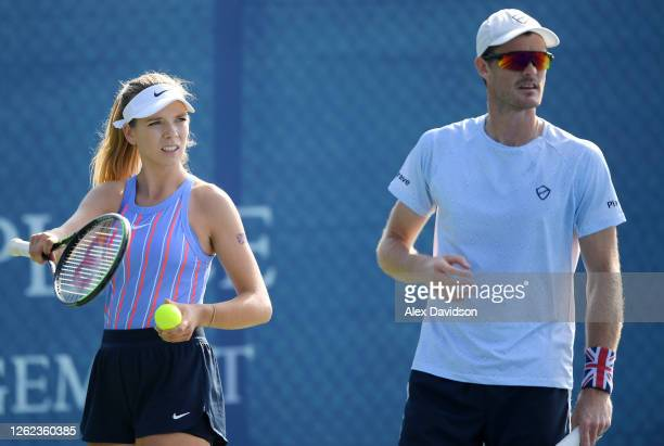 Jamie Murray and Katie Boulter of Union Jacks look on during their match against Cam Norrie and Beth Grey of British Bulldogs during day three St...