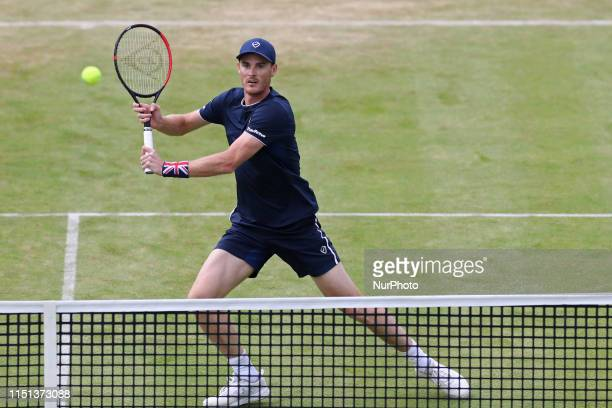 Jamie Murray attacks the net during the Fever Tree Tennis Championships at the Queen's Club, West Kensington on Friday 21st June 2019.