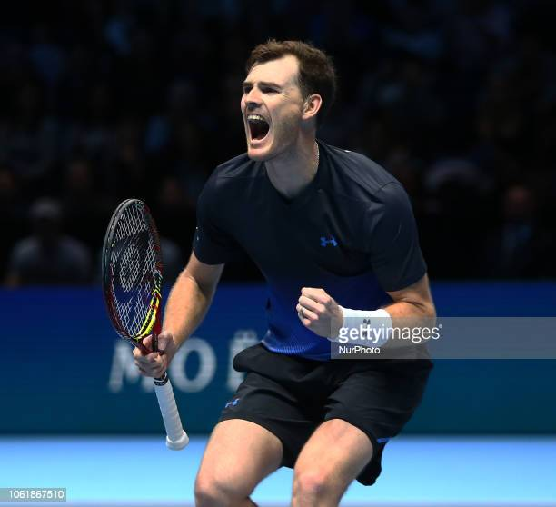 Jamie Murray celebrates Match Point against Raven Klaasen and Michael Venus during Day One Doubles of the Nitto ATP Finals played at The O2 Arena,...