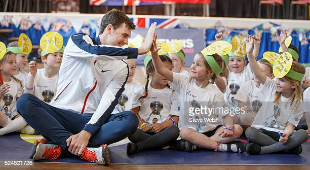 Jamie Murray during a question and answer session at Dunblane Primary School on April 26 2016 in Dunblane Scotland