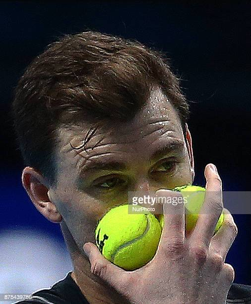 Jamie Murray in action during Day six of the Nitto ATP World Tour Finals played at The O2 Arena London on November 17 2017