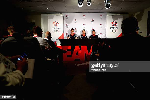 Jamie Murray Johanna Konta and Heather Watson of Great Britain speaks to the media during an announcement of tennis athletes named in Team GB for the...