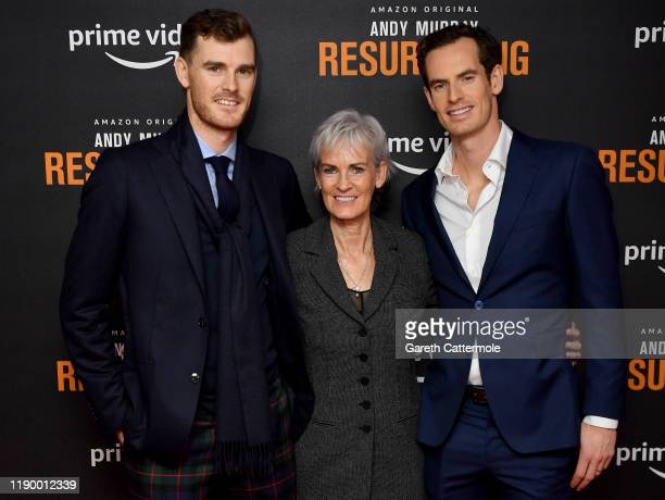 "Jamie Murray, Judy Murray and Andy Murray attend the ""Andy Murray: Resurfacing"" world premiere at the Curzon Bloomsbury on November 25, 2019 in..."