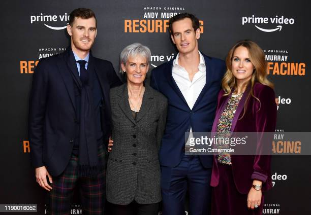 Jamie Murray Judy Murray Andy Murray and Kim Sears attend the Andy Murray Resurfacing world premiere at the Curzon Bloomsbury on November 25 2019 in...