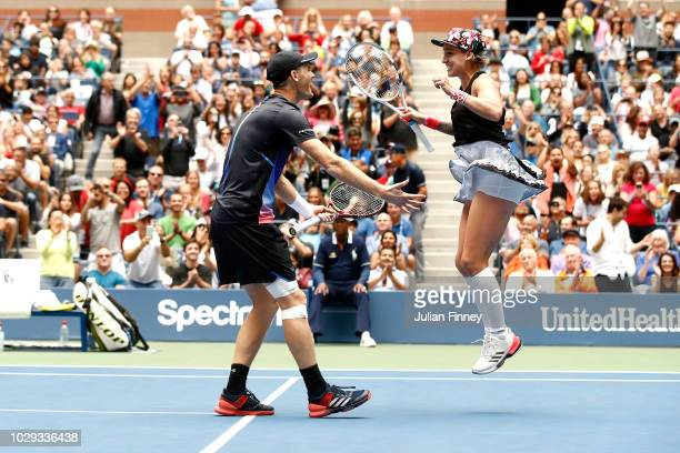 Jamie Murray of Great Britain and Bethanie MattekSands of the United States celebrates match point during the mixed doubles final match against...