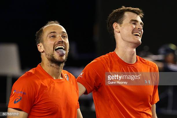 Jamie Murray of Great Britain and Bruno Soares of Brazil celebrate winning their Men's Doubles Final match against Daniel Nestor of Canada and Radek...