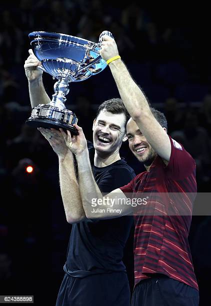Jamie Murray of Great Britain and Bruno Soares of Brazil celebrate being crownd the Number 1 Men's Doubles Team in the world after their men's...