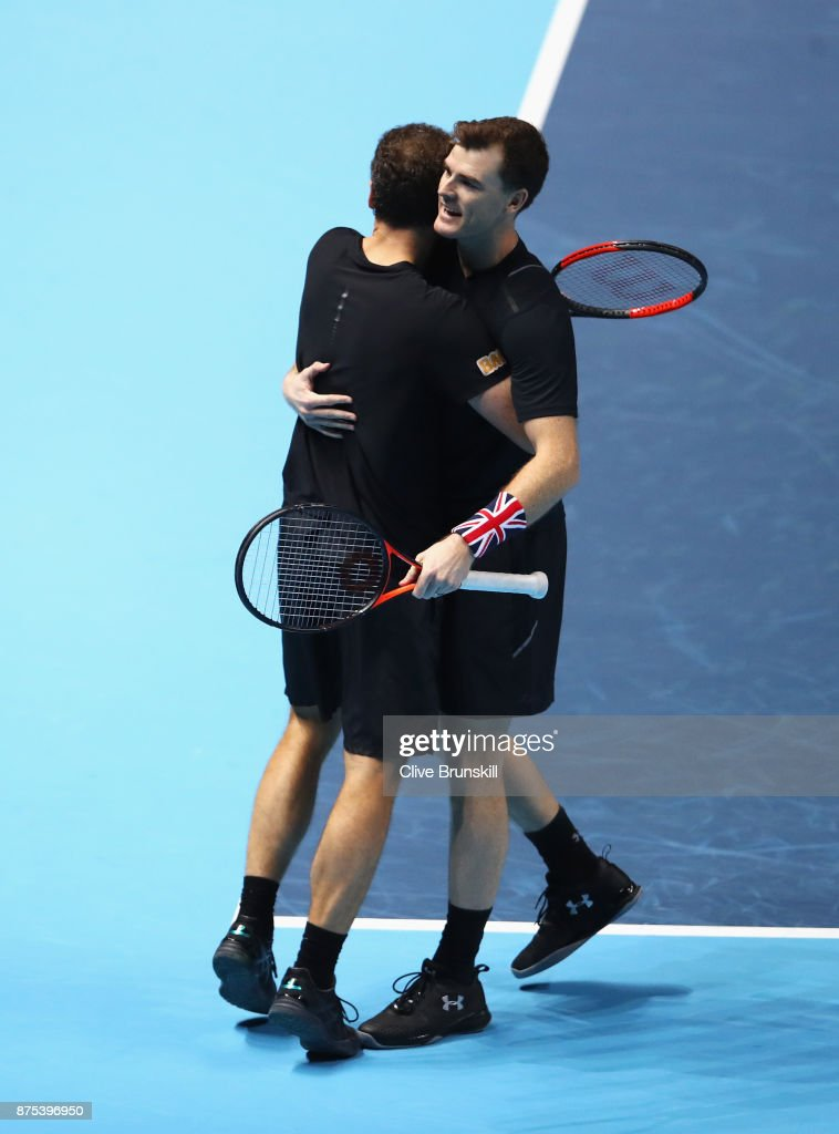 Jamie Murray (R) of Great Britain and Bruno Soares of Brazil celebrate victory in the Doubles match against Lukasz Kubot of Poland and Marcelo Melo of Brazil during day six of the Nitto ATP World Tour Finals at O2 Arena on November 17, 2017 in London, England.