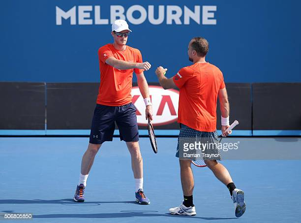 Jamie Murray of Great Britain and Bruno Soares of Brazil compete in their fourth round match against Raven Klaasen of South Africa and Rajeev Ram of...