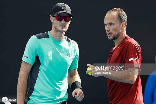 Jamie Murray of Great Britain and Bruno Soares of Brazil compete in their first round match against Sam Querrey of the United States and Donald Young...