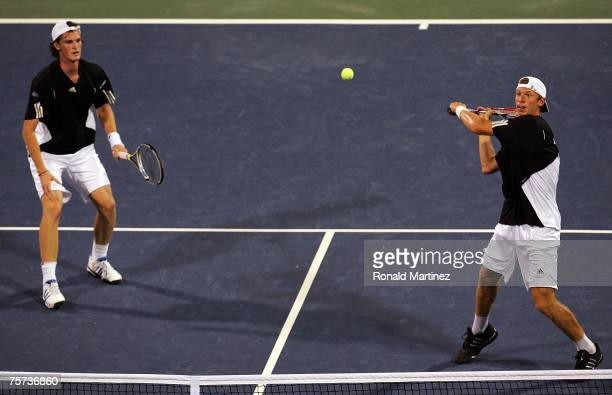 Jamie Murray of Great Britain and Eric Butorac compete during their doubles match against Scott Lipsky and David Martin during the Indianapolis...