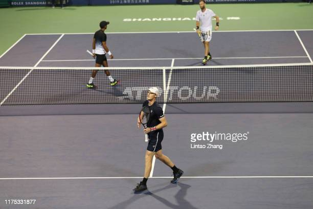 Jamie Murray of Great Britain and Neal Skupski of Great Britain in action during the 2019 Rolex Shanghai Masters Men's doubles quarterfinal match...
