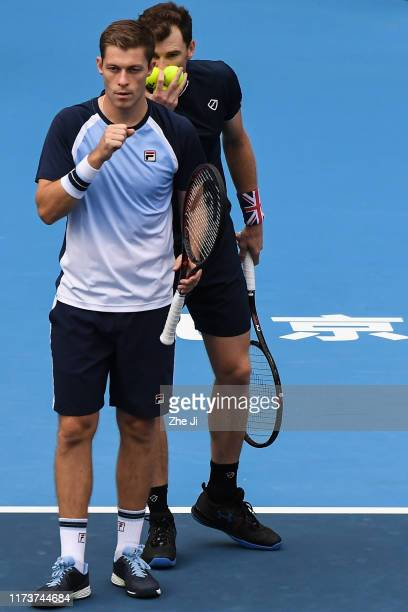 Jamie Murray of Great Britain and Neal Skupski of Great Britain react during their Men's doubles Semifinal match of 2019 China Open against Ivan...