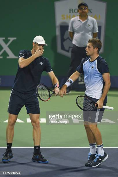 Jamie Murray of Great Britain and Neal Skupski of Great Britain reacts during the 2019 Rolex Shanghai Masters Men's doubles quarterfinal match...