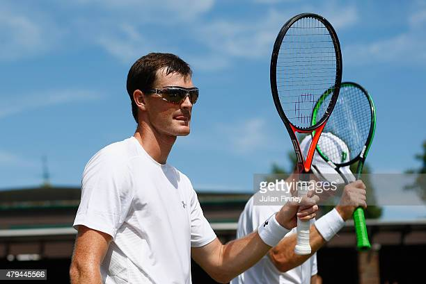 Jamie Murray of Great Britain and partner John Peers of Australia celebrate winning in the Gentlemens Doubles Second Round match against Nicholas...