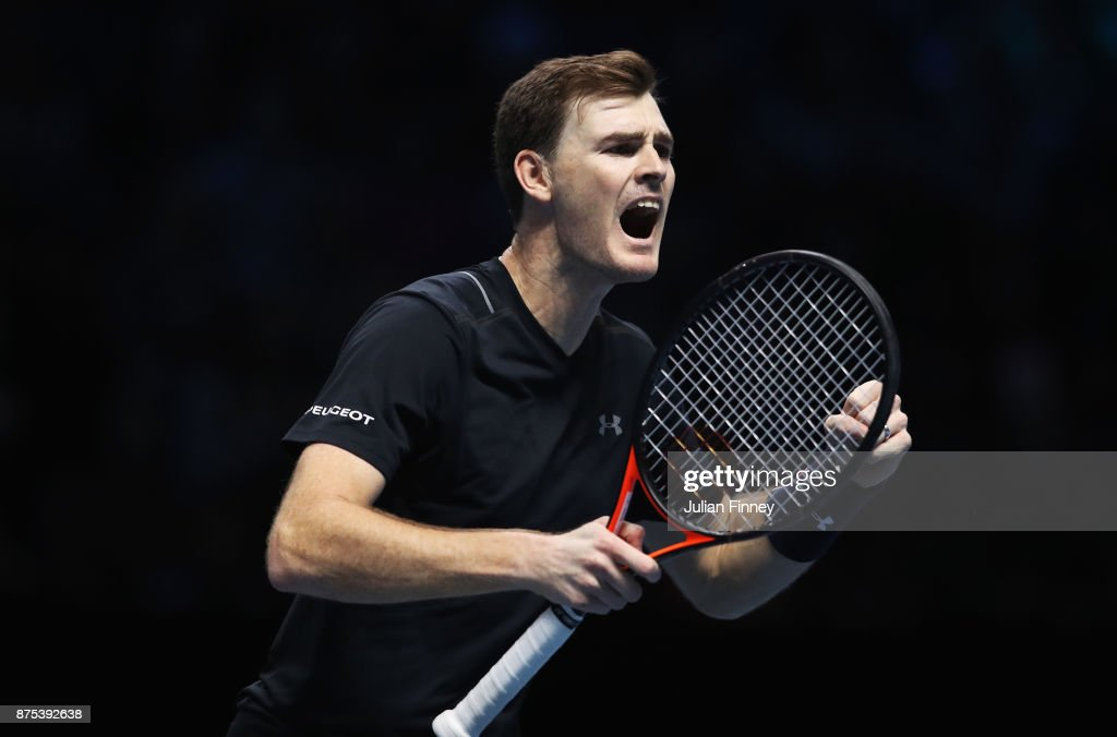 Jamie Murray of Great Britain celebrates partnering Bruno Soares of Brazil in the Doubles match against Lukasz Kubot of Poland and Marcelo Melo of Brazil during day six of the Nitto ATP World Tour Finals at O2 Arena on November 17, 2017 in London, England.