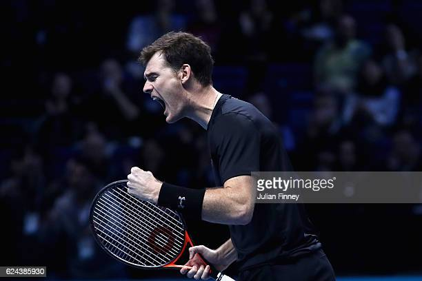 Jamie Murray of Great Britain celebrates scoring a point during his and Bruno Soares of Brazil men's doubles semi final against Raven Klaasen of...
