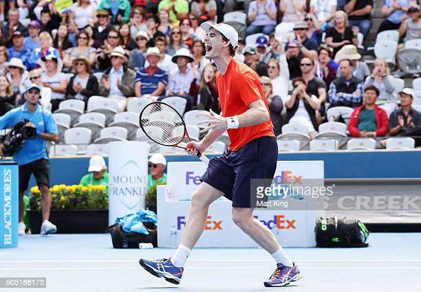 Jamie Murray of Great Britain celebrates winning championship point in the Mens Doubles Final with playing partner Bruno Soares of Brazil against...