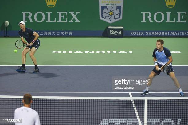 Jamie Murray of Great Britain in action with Neal Skupski of Great Britain during the 2019 Rolex Shanghai Masters Men's doubles quarterfinal match...