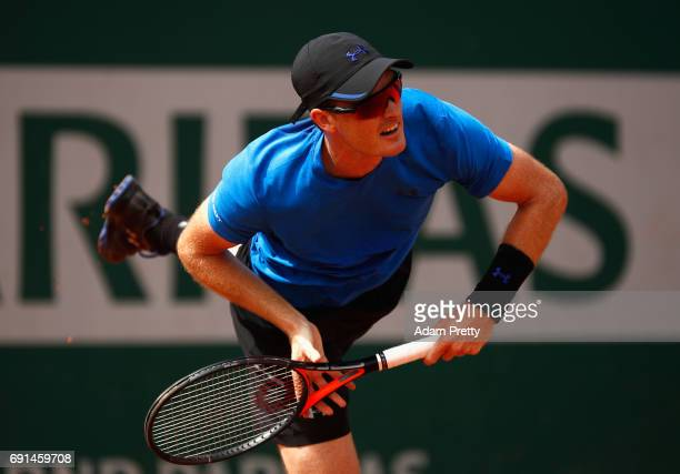 Jamie Murray of Great Britain partner of Bruno Soares of Brazil in action during mens doubles second round match against Mikhail Elgin of Russia and...