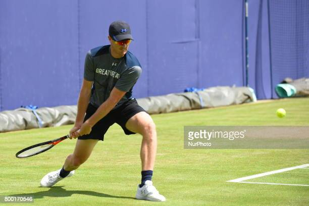 Jamie Murray of Great Britain practices at The Queen's Club London on June 22 2017 The players use the grass courts to train themselves before the...