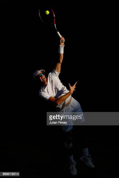 Jamie Murray of Great Britain returns against Alexander Peya of Austria and Nicole Melichar of The United States during the Mixed Doubles final on...
