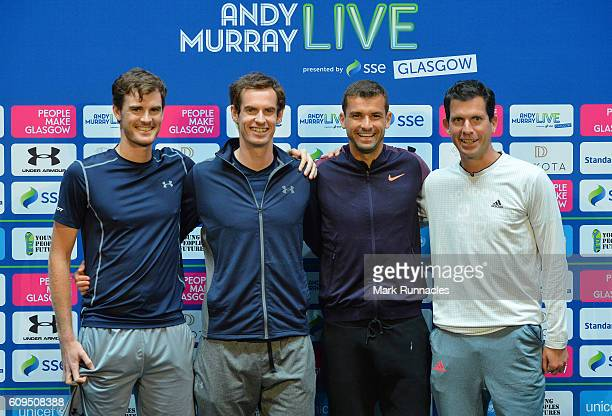 Jamie Murray of Scotland Andy Murray of Scotland Grigor Dimitrov of Bulgaria and Tim Henman of England pose for a photograph at a media conference...