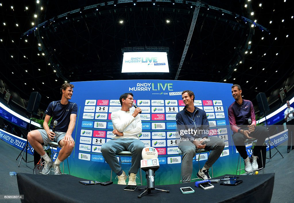 , Jamie Murray of Scotland, Tim Henman of England, Andy Murray of Scotland and Grigor Dimitrov of Bulgaria at a media conference during Andy Murray Live presented by SSE at the SSE Hydro on September 21, 2016 in Glasgow, Scotland.