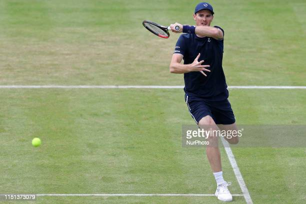 Jamie Murray plays a cross court drive during the Fever Tree Tennis Championships at the Queen's Club, West Kensington on Friday 21st June 2019.