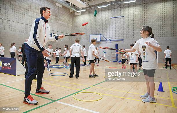 Jamie Murray takes a tennis session with pupils in the sports hall at Dunblane High School on April 26 2016 in Dunblane Scotland