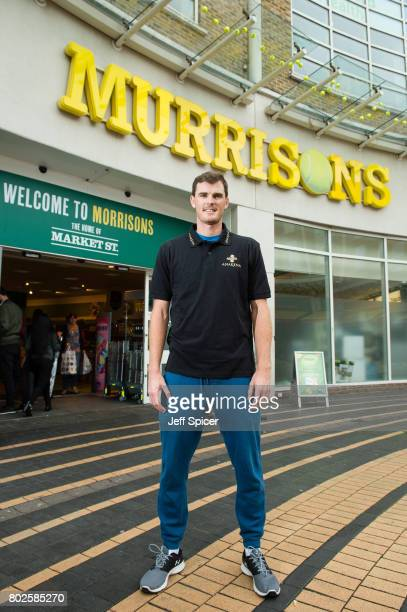 Jamie Murray visits Morrisons which has been renamed 'Murrisons' in honour of the tennis playing family on June 28 2017 in Wimbledon England